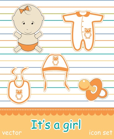 Colorful icon set of baby goods,  Stock Vector - 13773690