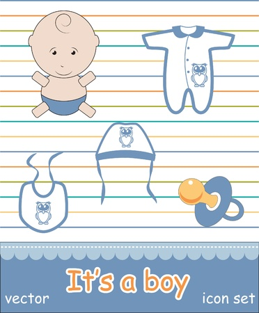 baby goods: Colorful icon set of baby goods,