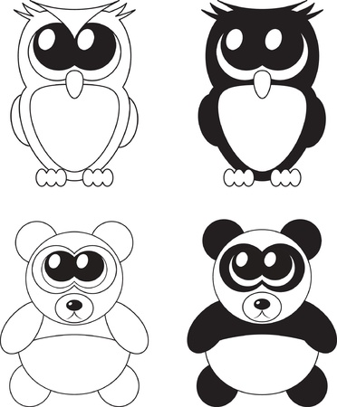 Cute cartoon owl and panda with big eyes,  Vector