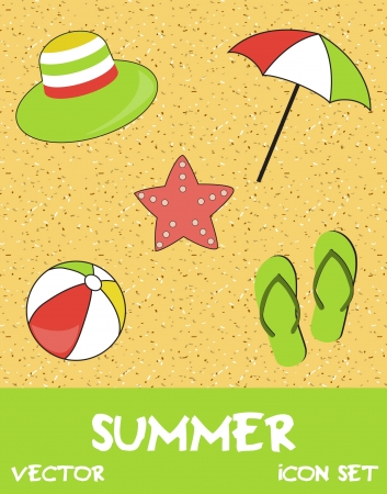 Pretty funny summer  beach  icon set Vector