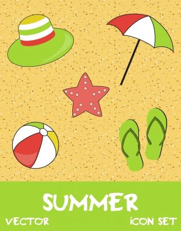 Pretty funny summer  beach  icon set Stock Vector - 14774733
