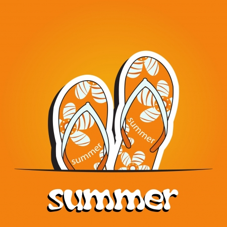 Pretty summer background with slippers