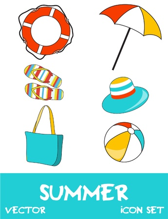 Set of pretty colorful summer icons Vector