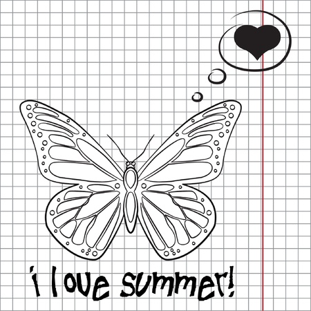 Pretty summer background with butterfly