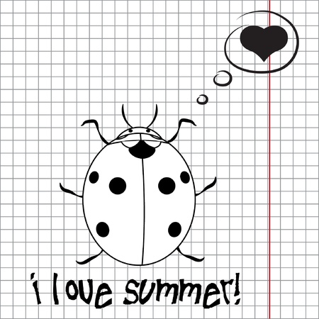 lady clock: Pretty summer background with ladybug