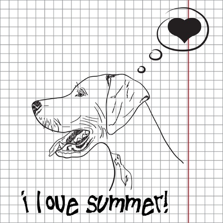 Pretty summer background with dog Vector