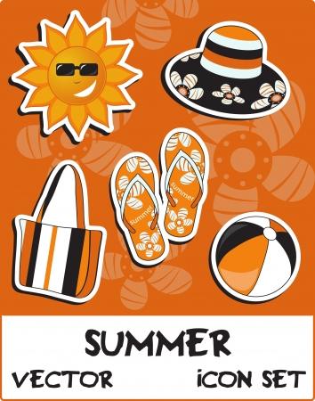 Pretty funny summer (beach) icon set, vector