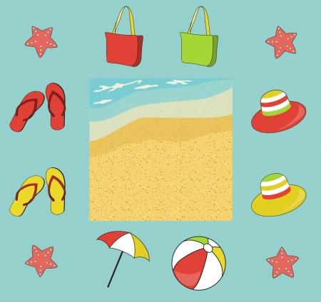 Summer (beach) icon set with seashore, vector