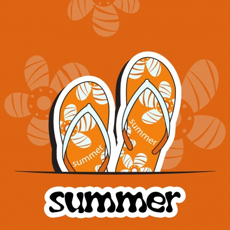 Pretty summer background with slippers, vector Stock Vector - 15604292