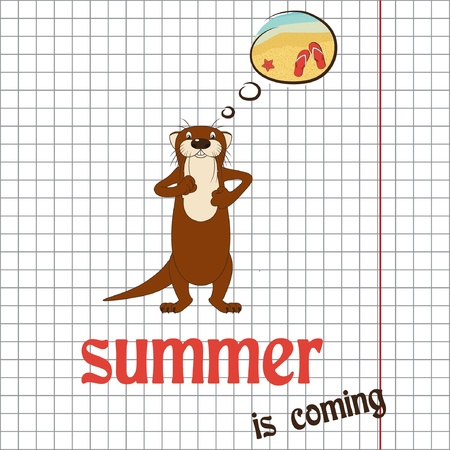 otter: Pretty summer background with otter, vector