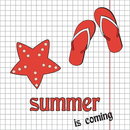 seastar: Pretty summer background with slippers and sea-star, vector
