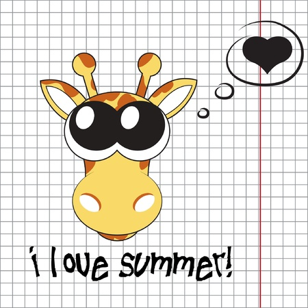 Pretty summer background with giraffe, vector Vector
