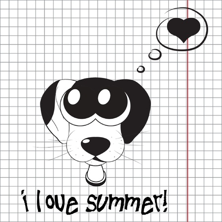 Pretty summer background with dog, vector Vector