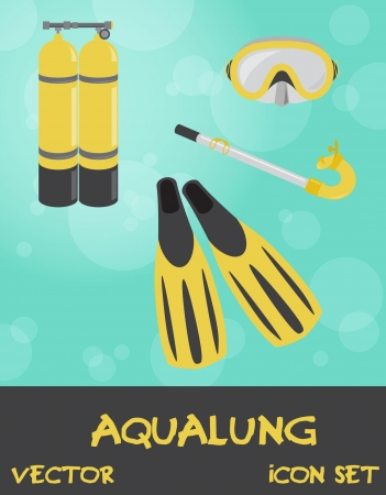 Icon set of summer underwater (scuba) devices, vector Stock Vector - 15604269