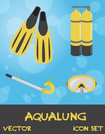 Icon set of summer underwater (scuba) devices, vector Stock Vector - 15604294