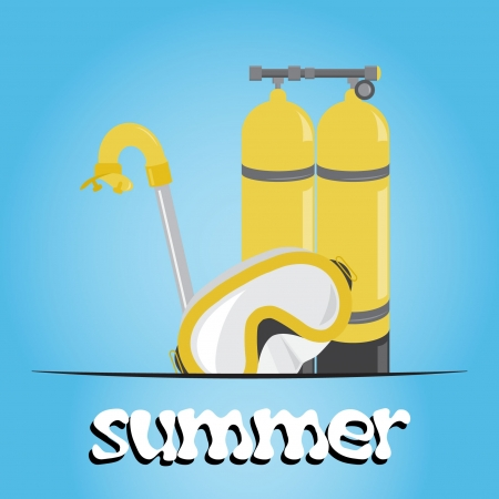 Summer underwater (scuba) background, vector Illustration