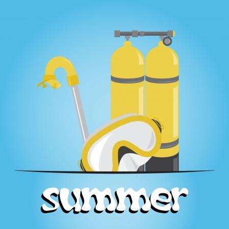 oxygen mask: Summer underwater (scuba) background, vector Illustration