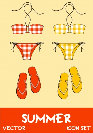 Set of pretty summer icons, vector Stock Vector - 15604272
