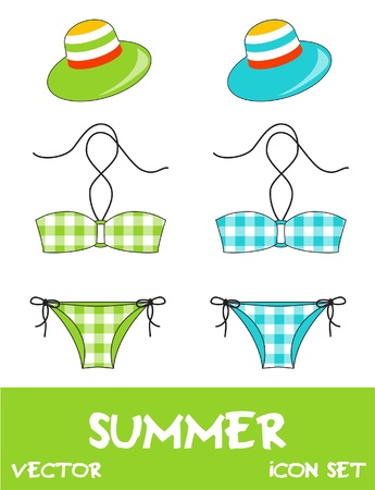 Set of pretty summer icons, vector