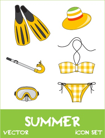 Set of pretty colorful summer icons, vector Stock Vector - 15604304