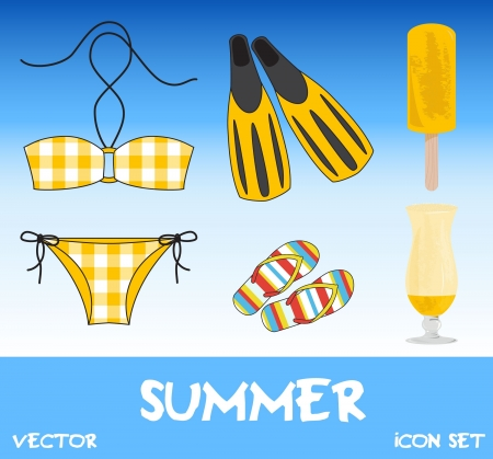 Set of pretty colorful summer icons, vector Stock Vector - 15604258