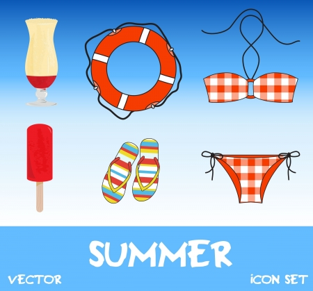 Set of pretty colorful summer icons, vector Vector