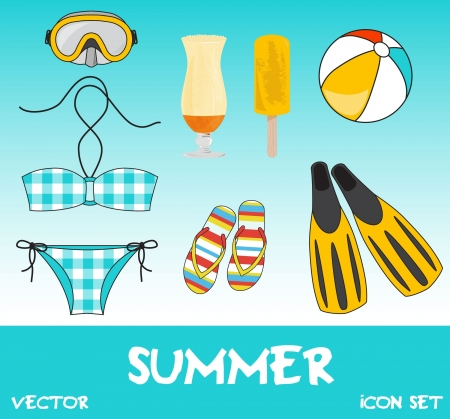 Set of pretty colorful summer icons, vector Stock Vector - 15604255