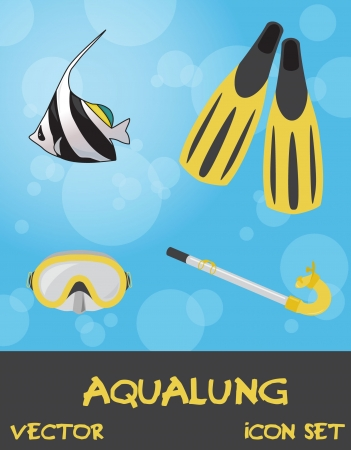 moorish idol: Icon set of summer underwater (scuba) devices, vector Illustration