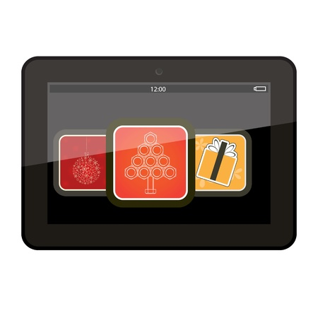 Tablet pc computer with Christmas app icons  Vector