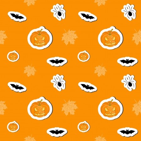 Halloween orange cartoon background, seamless pattern Vector