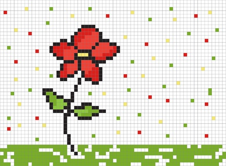 mosaic pattern: Cute pixel graphic with flower