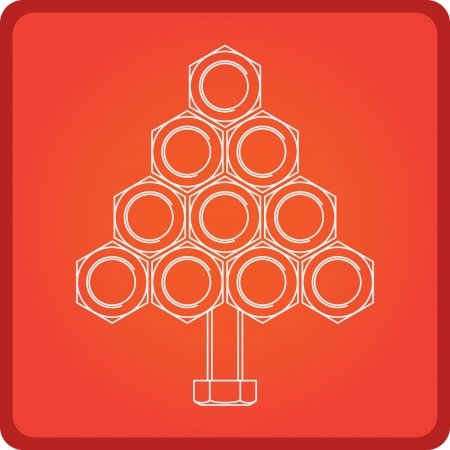 Christmas app icon with Christmas tree made of screws