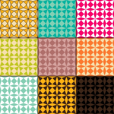 Set of abstract geometric seamless patterns, vector illustration Illustration