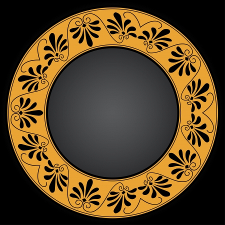 Circle ornament  Round frame, rosette of ancient elements