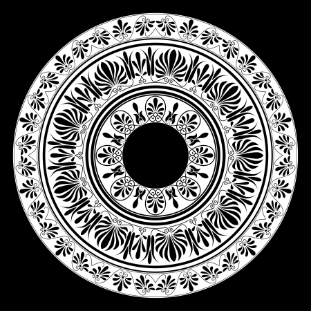 ancient greek: Circle ornament  Round frame, rosette of ancient elements
