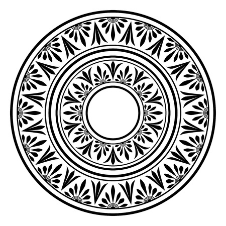 Circle ornament. Round frame, rosette of ancient elements.
