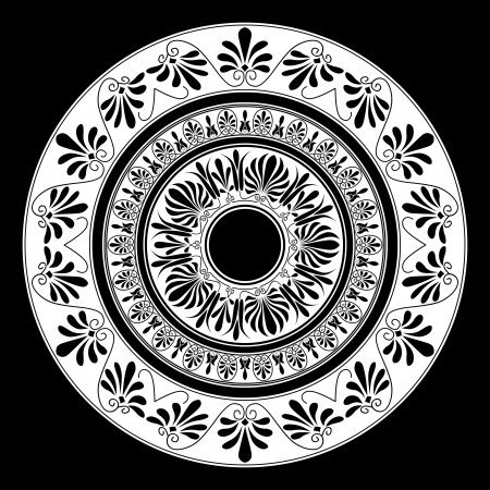 ancient greece: Circle ornament. Round frame, rosette of ancient elements. Greek national antique round pattern, vector. Stock Photo