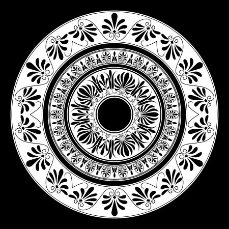 antigua grecia: Ornamento Circle. Marco redondo, roseta de elementos antiguos. Patrón nacional griego antiguo redondo, vector.