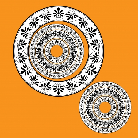 Circle ornament. Round frame, rosette of ancient elements. Background or card. Greek national antique round pattern, vector. photo