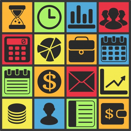 Set of flat simple icons (business, financial, money, banking), vector illustration Vector