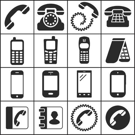 directorio telefonico: Conjunto de iconos planos simples (teléfono, teléfono, comunicación), ilustración vectorial Vectores