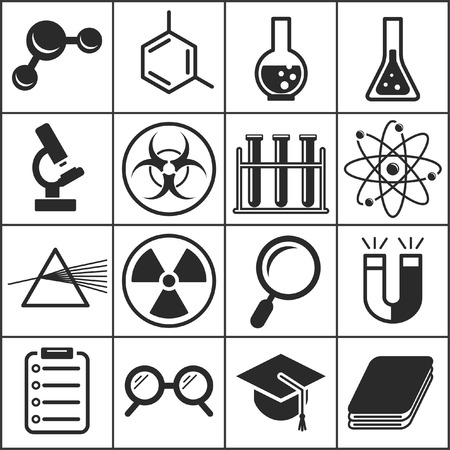 Set of flat simple icons (science, physics, chemistry), vector illustration
