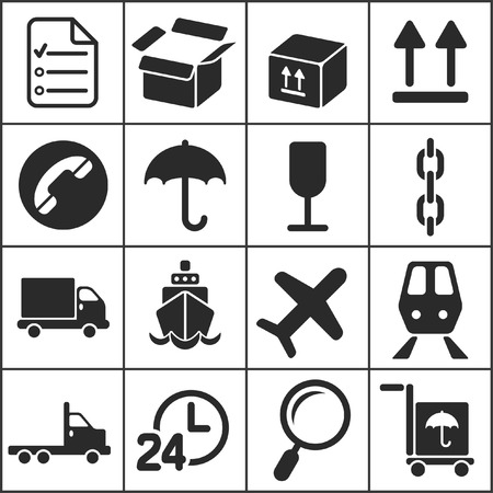 Set of flat simple web icons (logistics, freight, trucking industry, delivery), vector illustration Vector