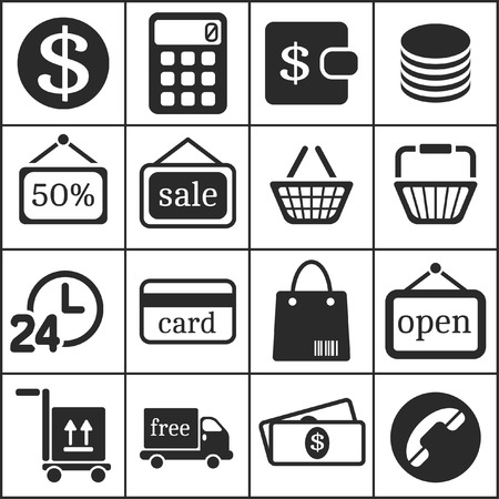 supermarket series: Set of flat simple web icons (shopping), vector illustration