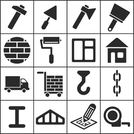 construction work: Set of flat simple web icons (construction, building), vector illustration