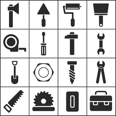 tools construction: Set of flat simple web icons (tools, construction, building, production, manufacture), vector illustration