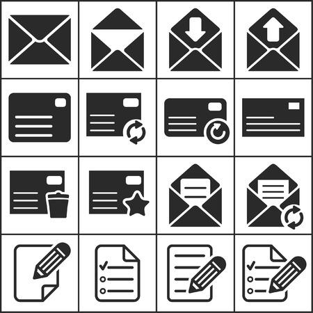 평면 간단한 웹 아이콘 (문자, 메일 링, communacation), 벡터 일러스트 레이 션의 집합 스톡 콘텐츠 - 24954894