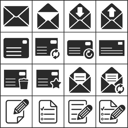 Set of flat simple web icons (letter, mailing, communacation), vector illustration