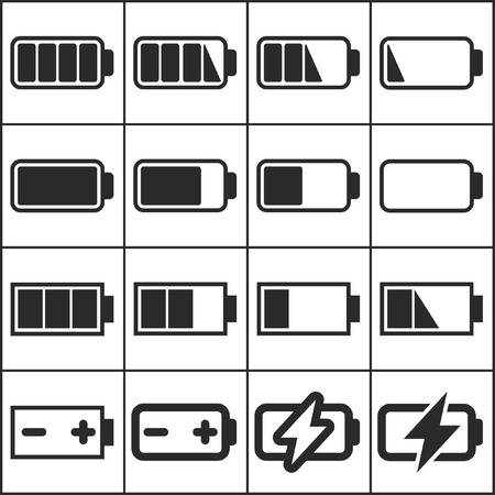 Set of flat simple web icons (charge level indicators, batteries, accumulators ), vector illustration Ilustracja