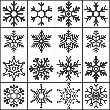 Set of flat simple web icons (winter snowflakes ), vector illustration Illustration
